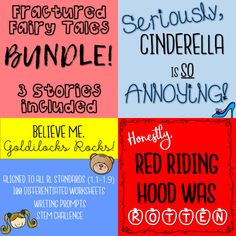 Included in the bundle are packets for: Believe Me, Goldilocks Rocks! Seriously, Cinderella is SO Annoying! Honestly, Red Riding Hood Was Rotten! Each story has 2 packets- portrait and landscape version worksheets. Each packet has 50-60 pages of resources!