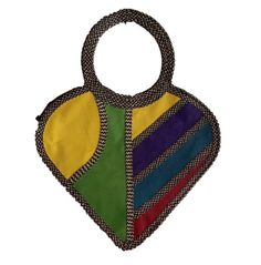HEART SHAPED HAND-BAG MADE FROM WOVEN ARROW CANE & SYNTHETIC LEATHER IN MULTIPLE COLORS
