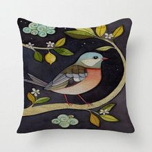 "Ebay Hot bird Cushion Pillowcase Throw Pillow 18 ""Luxurious Flower Bird Decorbox Linen Square Cotton YK685(China (Mainland))"