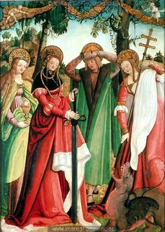 early 16th century (1505-1515) Austria? altar painting - Saints Barbara, Catherine of Alexandria, Pantaleon and Margaret St. Pölten, Landesmuseum Niederösterreich  http://tethys.imareal.oeaw.ac.at/realonline/ no. 008808