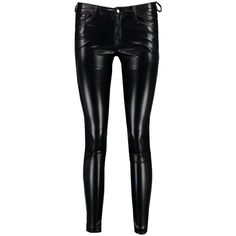 Boohoo Olympia Leather Look Skinny Stretch Trousers (310 HKD) ❤ liked on Polyvore featuring pants, stretch skinny pants, stretch pants, tapered pants, sports pants and zipper pants