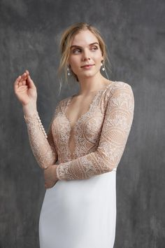 "Opt for this blushing beauty in a ""vintage rose"" lace or keep it classic with the ivory version. Either way, this elegant lace top wedding dress is traditional with a twist and can be paired with our ethereal organza skirt as a removable extra or as the official bridal gown silhouette.  #blushwedding#blushweddingdress Bridal Collection, Dress Collection, Top Wedding Dresses, Long Sleeve Wedding, Old Hollywood Glamour, Bridal Style, Bridal Gowns, Strictly Weddings, Season Premiere"