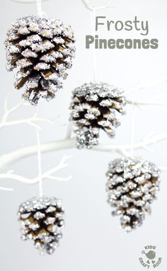A classic frosty pinecone craft with a clever twist makes gorgeous Winter ornaments. A super frosty, super sparkly and super fun Winter craft for kids! For my all-season door wreath Diy Christmas Ornaments, Holiday Crafts, Pinecone Christmas Crafts, Pine Cone Christmas Decorations, Ornaments Ideas, Christmas Centrepieces, Winter Wonderland Decorations, Winter Party Decorations, Winter Wonderland Theme