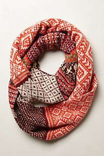 Anthropologie - Fairisle Infinity Scarf: You know, with a provisional cast-on, this could make a pretty low stress way to add a bit of fair isle to the knit repertoire. Looks Style, Style Me, Style Star, Vetements Clothing, Fashion Accessories, Women Accessories, Mode Style, Look Fashion, Fashion Outfits