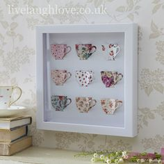 Box Framed Paper Art Picture-Teacups
