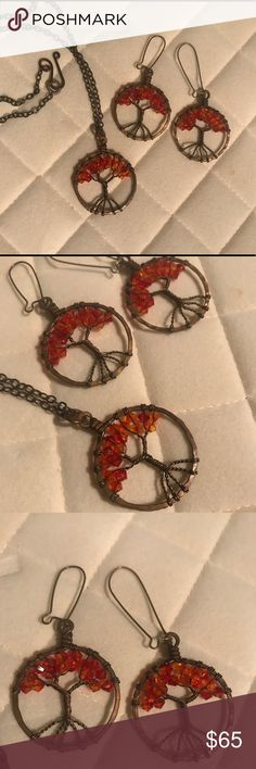 Tree of life pendant necklace and earrings Copper pendant and chain. Red orange beaded tree of life. Necklace and earrings. Worn only once or twice. Jewelry Necklaces