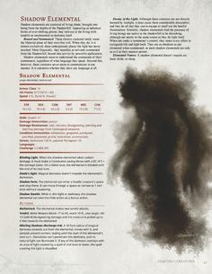DnD Homebrew — Dark Arts Player's Companion Monsters Part 3 by. Dungeons And Dragons 5e, Dungeons And Dragons Homebrew, Fantasy Creatures, Mythical Creatures, Mythological Creatures, Shadow Creatures, Shadow Monster, Dnd Classes, Dnd 5e Homebrew