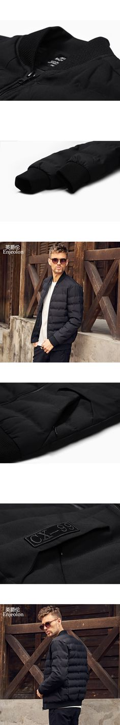 Enjeolon Brand new parka Cotton Padded Jacket coat Men stand collar Windproof black solid Thick Quilted fashion Coat Men MF0294