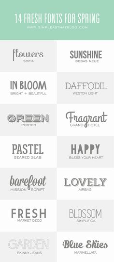 14 Fresh Fonts for Spring! Fun for your spring design ideas!