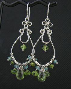 Green Blue stone Wire Earrings Peridot Apatite by LoneRockJewelry