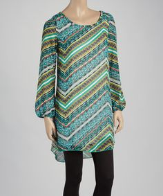Love this Mint & Green Chevron Tunic - Women by Dia on #zulily! #zulilyfinds