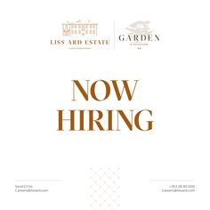 Liss Ard Estate is going through a comprehensive renovation project and currently recruiting several part-time and full-time positions: - Chefs of All Levels (Daytime And Evening Positions) - Waitresses And Waiters - Kitchen Porters - Housekeeping - Receptionists We welcome you to join a team of passionate and talented professionals who aim at delivering the best of West Cork hospitality. Candidates are welcomed to send a CV to: careers@lissard.com or call 028-40000 West Cork, Housekeeping, Chefs, Hospitality, A Team, Career, Join, Positivity, Country