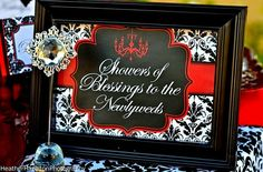 """Photo 10 of 19: RED AND BLACK DAMASK / Bridal/Wedding Shower """"SHOWERS OF BLESSINGS"""""""