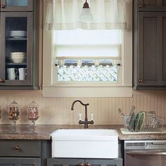 Cottage-Style Charm with Beaded Board. For cottage style or a farmhouse look, choose beaded board for the backsplash. Flat trim along the top and bottom edges where the backsplash meets the countertop and the cabinetry gives a finished look. For easy cleaning, use a durable latex enamel paint that can stand up to scrubbing and splashes