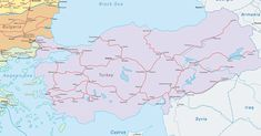 Rail map of Turkey, now part of the Eurail network!
