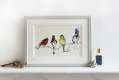 Finches - a bird print by Anna Wright.