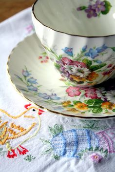 vintage linens and teacup