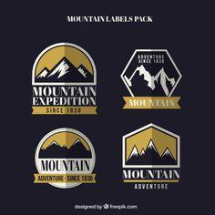 Pack de insignias de expedición de montaña Vector Gratis