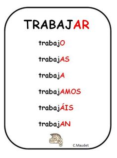 Spanish verbs - Present tense of TRABAJAR = To work