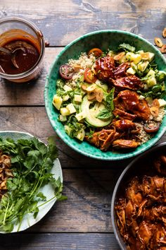 Make some changes to ingredients Weeknight Saucy Pineapple BBQ Chicken Bowls Bbq Chicken Sandwich, Bbq Chicken Salad, Healthy Chicken, Chicken Kebab, Chipotle Chicken, Chicken Dips, Shrimp Salad, Barbecue Chicken, Rotisserie Chicken