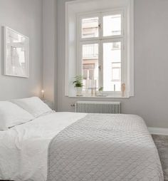 White and grey bedroom Cute Apartment, Apartment Bedroom Decor, Home Bedroom, Diy Bedroom Decor, Bedroom Furniture, Master Bedroom, Airy Bedroom, Bedroom Signs, Bedroom Rustic
