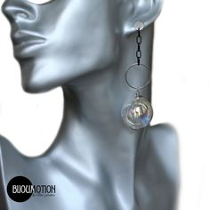 These stunning earrings with hand blown glass bubbles are beautiful, very unusual and have a unique design The clear glass ball is empty that is why they are very lightweight yet sturdy. Eye-catching and extraordinary! No one can resist their attractiveness. Light and comfortable to wear and make a truly special gift for her! #clearglassearrings #clearballearrings #weddingjewelry Glass Earrings, Stud Earrings, Special Gifts For Her, Glass Ball, Hand Blown Glass, Clear Glass, Empty, Dangles, Bubbles