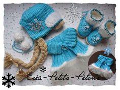Ensemble 3 pièces Tricot & Crochet Reine des Neiges Bébé : Mode Bébé par crea-petits-petons77