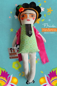 Frida Muñeca de tela / Cloth doll Mandarinasdetela on Etsy | Mandarinas mandarinasdetela.wordpress.com | #handmade #doll