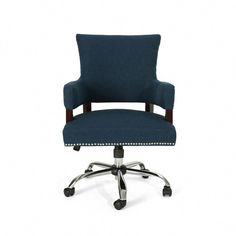 Noble House Bonaparte Traditional Studded Navy Blue Fabric Adjustable Home Office Chair with Wheels 53491 - The Home Depot Office Chair Wheels, Home Office Chairs, Upholstered Swivel Chairs, Chair Upholstery, Chair Cushions, Home Depot, Old Chairs, Wooden Chairs, Folding Chairs