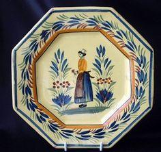 Henriot QUIMPER Yellow Octogon 7 3/4  Plate Breton Woman