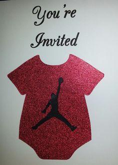Jordan Theme Invite #2 - Red sparkle onesie cutout with jumpman symbol.