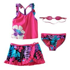 ZeroXposur 3-pc. Tankini Flower Swimsuit Set - Girls 4-6x