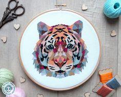 Tiger Cross Stitch Pattern Modern Cross Stitch Geometric, Simple Cross Stitch, Modern Cross Stitch, Cross Stitch Designs, Cross Stitch Patterns, Embroidery Art, Cross Stitch Embroidery, Embroidery Patterns, Geometric Embroidery