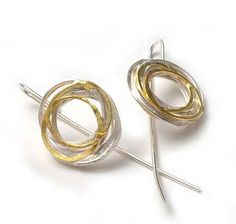 Silver + Gold Wrap Earrings by Shimara Carlow. Sterling silver and 18kt gold.