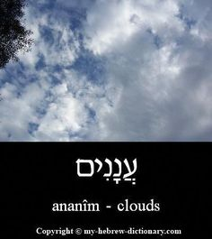 How to say Clouds in Hebrew. Includes Hebrew vowels, transliteration (written with English letters) and audio pronunciation by an Israeli. Biblical Hebrew, Hebrew Words, Hebrew Quotes, English To Hebrew, Learning A Second Language, Learn Hebrew, Alphabet, Word Study, Torah