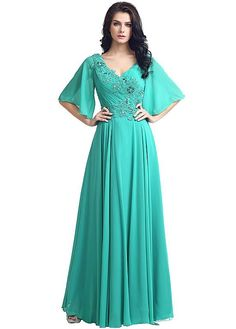 aed6d7bf9937  103.59  Modest Chiffon V-neck Neckline Trumpet Sleeves A-line Evening  Dresses With Beaded Lace Appliques