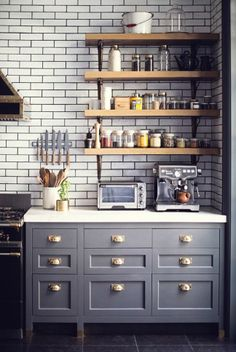 cabinets and open shelves