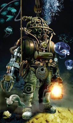 Old school deep sea diving suit, illustration. Jules Verne, Steampunk Illustration, Fantasy Illustration, Steampunk Armor, Steampunk Robots, Leagues Under The Sea, Sea Monsters, Dieselpunk, Deep Sea
