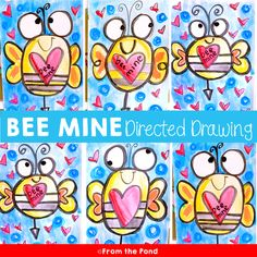 Valentine's Day Bee Directed Drawing {Art Project} - This bee directed drawing and associated pages will help you create a fun and creative Valentine' - Classroom Art Projects, School Art Projects, Art Classroom, Easy Art Projects, Classroom Posters, Classroom Setup, Valentines Art, Valentines Day Activities, Classe D'art