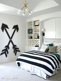 Tween Girl Bedroom with Wooden Wall Arrows by Two Thirty Five Designs