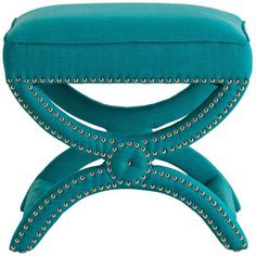 From Arteriors Home, the Tennyson Turquoise Linen Stool brings modern elegance to your interior. Striking turquoise linen fabric really catches the eye. Nickel-finish stud details on legs and base of seat give this piece great visual texture. Modern, double-U frame style adds a shot of contemporary appeal. $720.91. Free shipping.