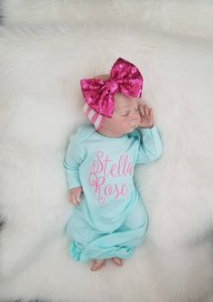 7470e27c277c Baby Girl Gown, Infant Gown, Personalized Gown, Baby Gown, Monogramed gown,  Coming Home Outfit, Baby