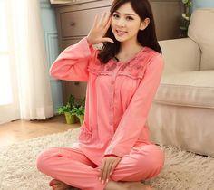 04a650db01 Women sleepwear 2017 spring and autumn cotton teenage girl long-sleeve pajama  set plus size female lounge 4XL