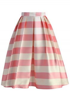 Candy Pink Striped Midi Skirt