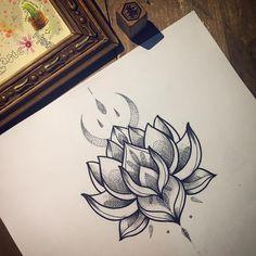 Lotus flash tattoo Illustration drawing By Miss Sita done at One O Nine Tattoo Barcelona Follow on instagram @misssita