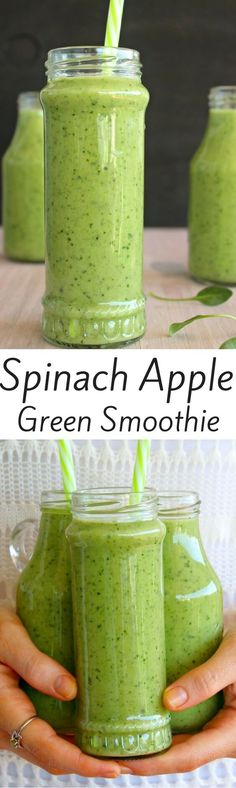 Healthy Smoothies Smoothie Recipes, Spinach Smoothie Recipes, Apple Smoothie Recipes - A powerhouse green smoothie that is loaded with spinach, it's smooth and creamy, sweet and refreshing. The perfect simple to make healthy smoothie to have anytime! Smoothie Vert, Juice Smoothie, Smoothie Drinks, Smoothie Detox, Avocado Smoothie, Detox Drinks, Detox Juices, Cleanse Detox, Fruit Juice
