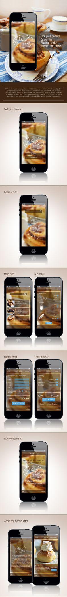 Mobile Application for a coffee shop by Eva Peycheva, via Behance