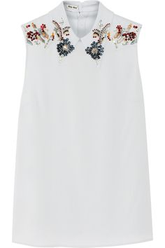 Miu Miu | Embellished stretch-crepe top | NET-A-PORTER.COM