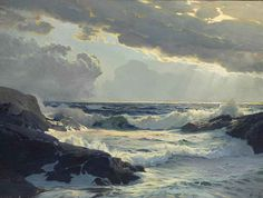 Frederick Judd Waugh (1861-1940) Freshening Breeze signed 'Waugh' (lower right) oil on canvas 30 x 40 in. (76.2 x 101.6 cm.)