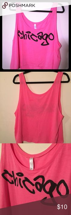 Chicago Crop Top Pink Chicago crop top. Bella L/XL. New without tags. Bella Tops Crop Tops